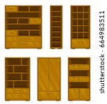 set of wooden furniture on a... | Shutterstock .eps vector #664983511