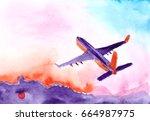 passenger airplane flying in... | Shutterstock . vector #664987975