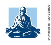 yogi   guru sitting in lotus... | Shutterstock .eps vector #664988809