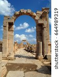 Small photo of Leptis Magna the old roman city on the Libyan coast of the Mediterranean sea.