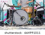 young musician playing drums on ... | Shutterstock . vector #664991011