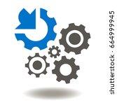 gears arrow integration vector... | Shutterstock .eps vector #664999945