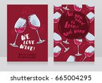 two posters for wine party  can ... | Shutterstock .eps vector #665004295