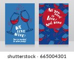 two posters for wine party  can ... | Shutterstock .eps vector #665004301