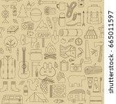 vector doodle camp elements.... | Shutterstock .eps vector #665011597