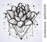 vector boho style outline... | Shutterstock .eps vector #665015455