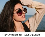 close up portrait of beautiful... | Shutterstock . vector #665016505