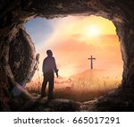resurrection of jesus christ... | Shutterstock . vector #665017291