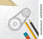 vector blueprint belt drive... | Shutterstock .eps vector #665028265