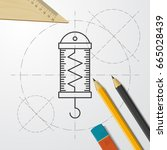 vector blueprint physics... | Shutterstock .eps vector #665028439