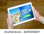 hands holding tablet with cheap ... | Shutterstock . vector #665030869