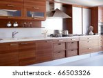 Stock photo red wood kitchen white kitchen bench modern interior decoration 66503326