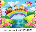 children riding on train over... | Shutterstock .eps vector #665039071