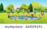 boys and girls standing round... | Shutterstock .eps vector #665039191