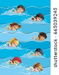 many kids swimming in pool... | Shutterstock .eps vector #665039245