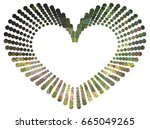 heart shaped mosaic frame with... | Shutterstock .eps vector #665049265