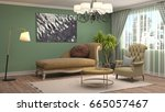 interior living room. 3d... | Shutterstock . vector #665057467
