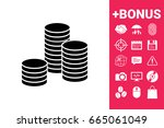 stack of coins icon | Shutterstock . vector #665061049