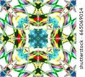 colorful kaleidoscopic pattern... | Shutterstock . vector #665069014
