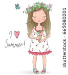 hand drawn beautiful  cute... | Shutterstock .eps vector #665080201