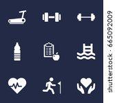 set of 9 bodybuilding icons set.... | Shutterstock .eps vector #665092009