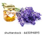 lavender with aromatic oil... | Shutterstock . vector #665094895
