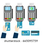 payment pos terminal. wireless... | Shutterstock .eps vector #665095759
