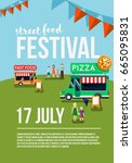 food truck festival event flyer ... | Shutterstock .eps vector #665095831