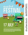 street food camp on open air... | Shutterstock .eps vector #665095831