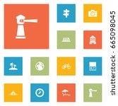 set of 12 travel icons set... | Shutterstock .eps vector #665098045