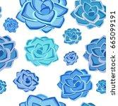 succulent plant seamless... | Shutterstock .eps vector #665099191