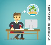 business man dreaming vacation... | Shutterstock .eps vector #665101051