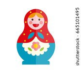 doll russian doll culture toy... | Shutterstock .eps vector #665101495