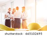 business people discussing over ... | Shutterstock . vector #665102695
