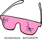 pink glasses cracked   vector...