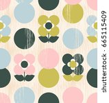 seamless pattern with flowers... | Shutterstock .eps vector #665115409