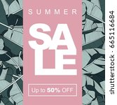 sale banner  poster with palm... | Shutterstock .eps vector #665116684