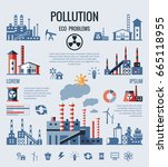 digital vector blue factory... | Shutterstock .eps vector #665118955