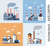 digital vector blue factory... | Shutterstock .eps vector #665118994