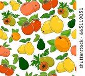 fruit berry seamless pattern  ... | Shutterstock . vector #665119051