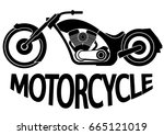 old vintage motorcycle | Shutterstock .eps vector #665121019