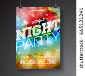 vector night party flyer design ... | Shutterstock .eps vector #665121241