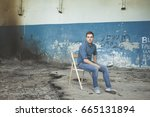 young man in jeans and a shirt. ... | Shutterstock . vector #665131894