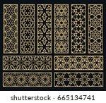 golden borders set. decorative... | Shutterstock .eps vector #665134741