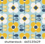seamless pattern with flowers...   Shutterstock .eps vector #665135629