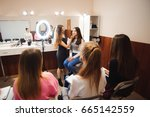 professional makeup teacher... | Shutterstock . vector #665142559