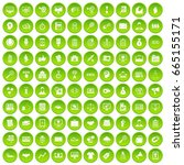 100 partnership icons set green ... | Shutterstock . vector #665155171