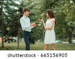 the student asks for the book... | Shutterstock . vector #665156905