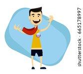 sport fan wearing scarf and... | Shutterstock .eps vector #665178997