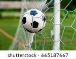soccer ball in goal   Shutterstock . vector #665187667